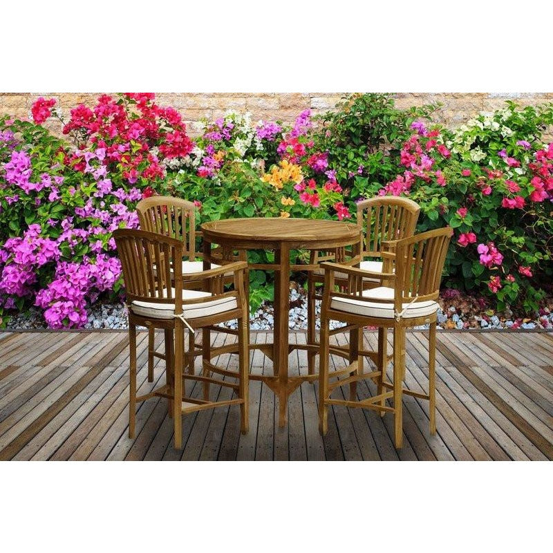 5 Piece Teak Orleans Bar Table/Chair Set With Cushions - Chic Teak