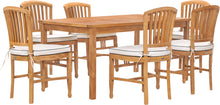 "7 Piece Teak Wood Orleans 63"" Patio Bistro Dining Set with 6 Side Chairs"