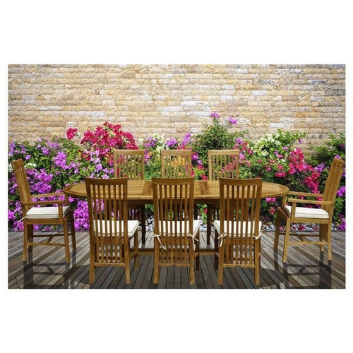 9 Piece Oval Teak Wood Balero Table/Chair Set With Cushions - Chic Teak