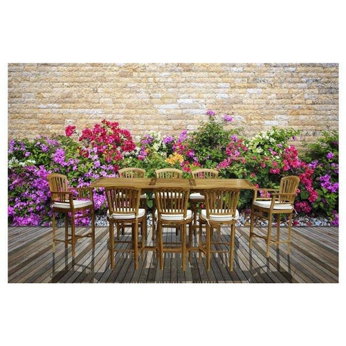 9 Piece Teak Wood Orleans Bar Table/Chair Set With Cushions - Chic Teak