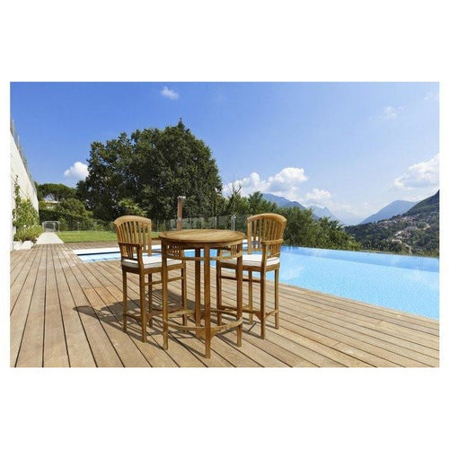 3 Piece Teak Wood Orleans Bar Table/Chair Set With Cushions - Chic Teak
