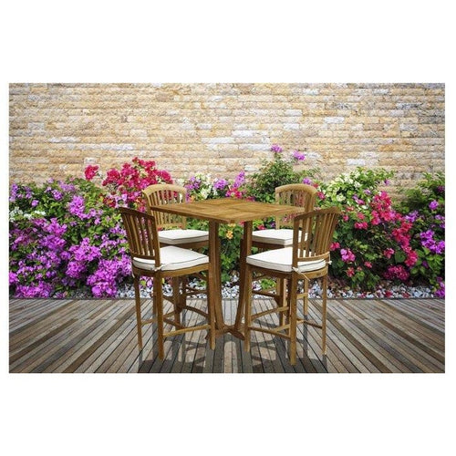 5 Piece Teak Wood Armless Orleans Bar Table/Chair Set With Cushions - Chic Teak