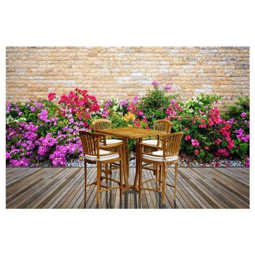 5 Piece Square Teak Wood Orleans Bar Table/Chair Set With Cushions - Chic Teak
