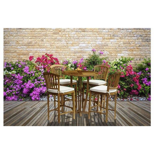 5 Piece Round Teak Wood Armless Orleans Bar Table/Chair Set With Cushions - Chic Teak