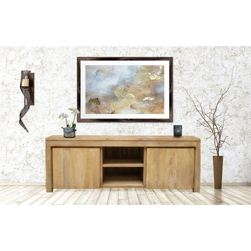 Recycled Teak Wood Solo Media Center, 2 Door - Chic Teak