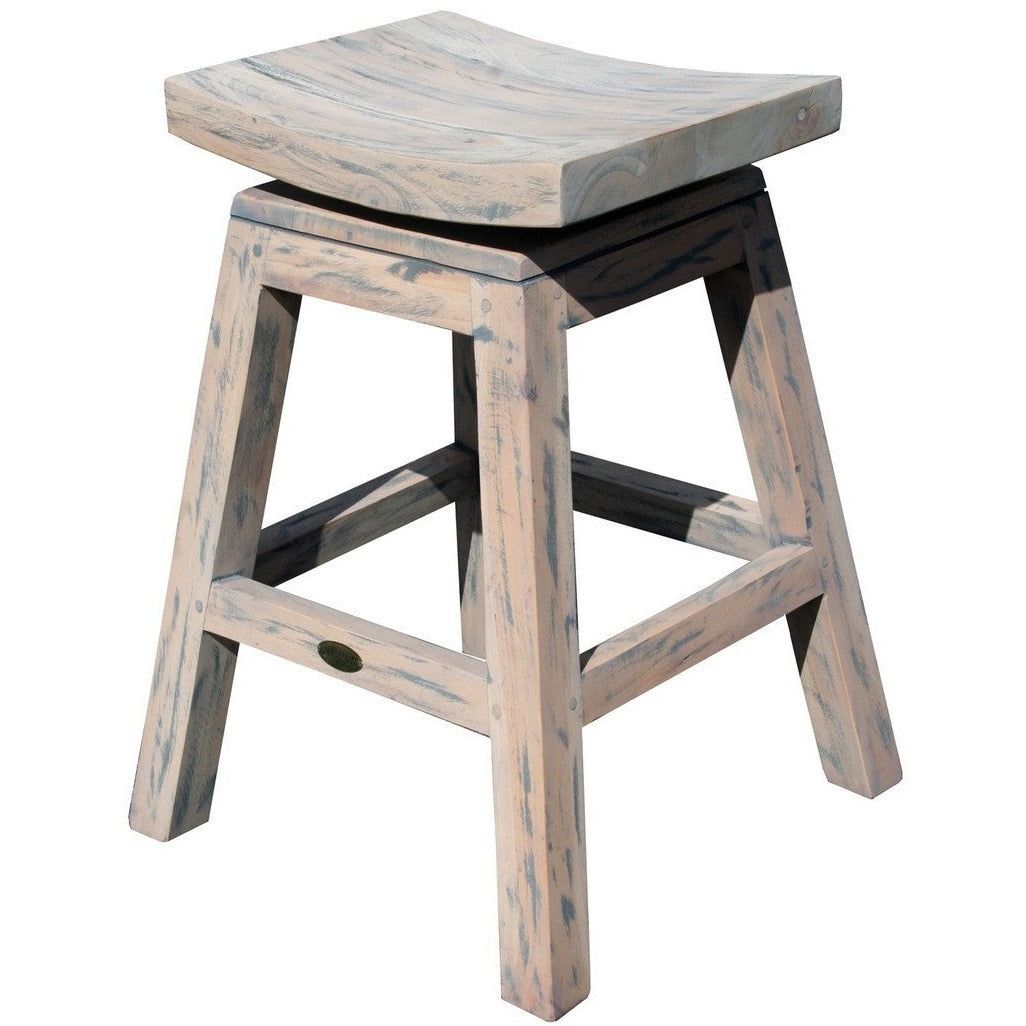 Rustic Teak Wood Vessel Counter Stool with Swivel Seat - Chic Teak