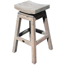 Rustic Teak Wood Vessel Barstool with Swivel Seat - Chic Teak