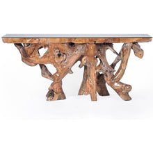 Teak Wood Root Console Table with Glass Top, 72 inches