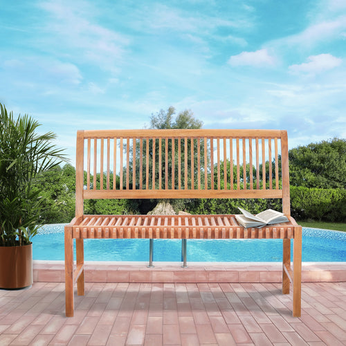 Teak Wood Castle Bench without Arms, 4 ft