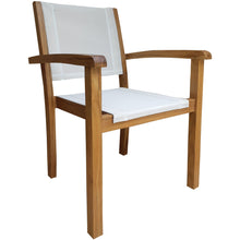 Teak Wood Las Palmas Stacking Arm Chair with Batyline Sling - Chic Teak