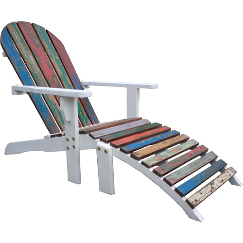 Adirondack Chair Including Footstool Made From Recycled Boats-Chic Teak