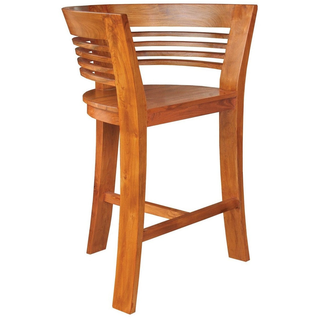 Waxed Teak Wood Half Moon Bar Stool - Chic Teak