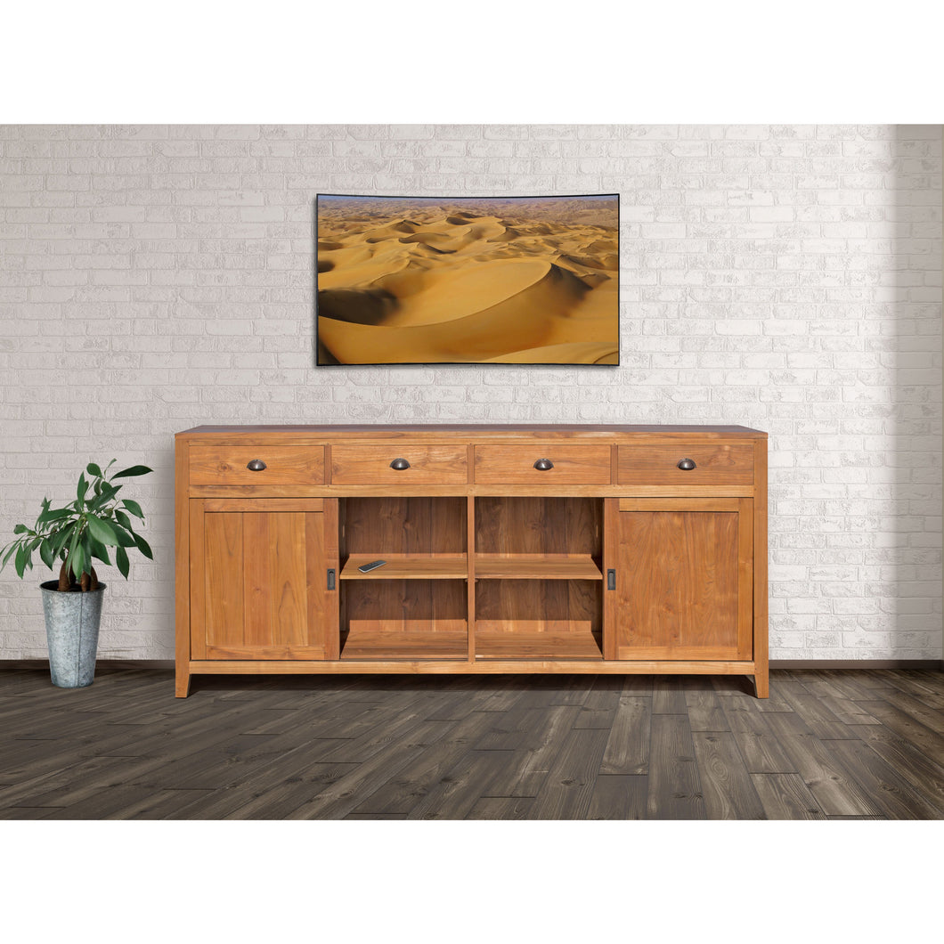 Waxed Teak Wood Rhone Buffet / Media Center, Large - Chic Teak
