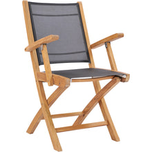 Teak Wood Miami Folding Arm Chair, Black (Set of 2)