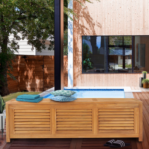 Teak Wood Manhattan Pool and Deck Storage Cushion Box