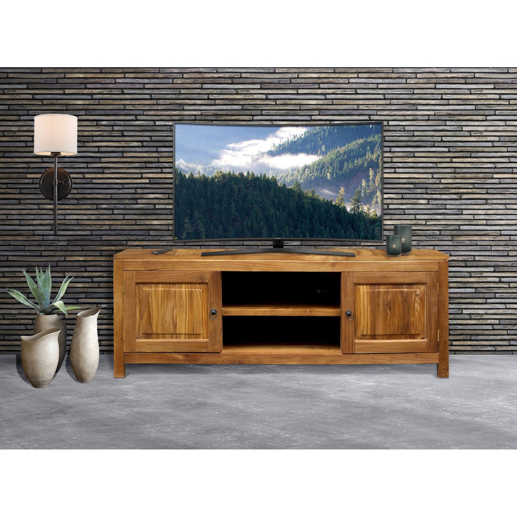 Waxed Teak Wood Santa Barbara Media Center - Chic Teak
