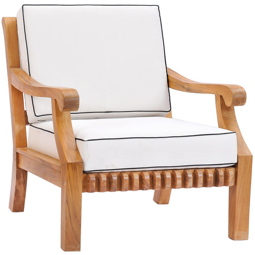 Teak Wood Castle Deep Seating Patio Lounge Chair with Cushions