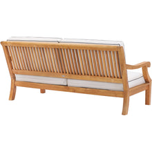 Teak Wood Castle Deep Seating Patio Love Seat with Cushions