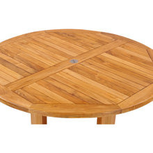 Teak Wood Hatteras Round Outdoor Patio Dining Table, 48 Inch