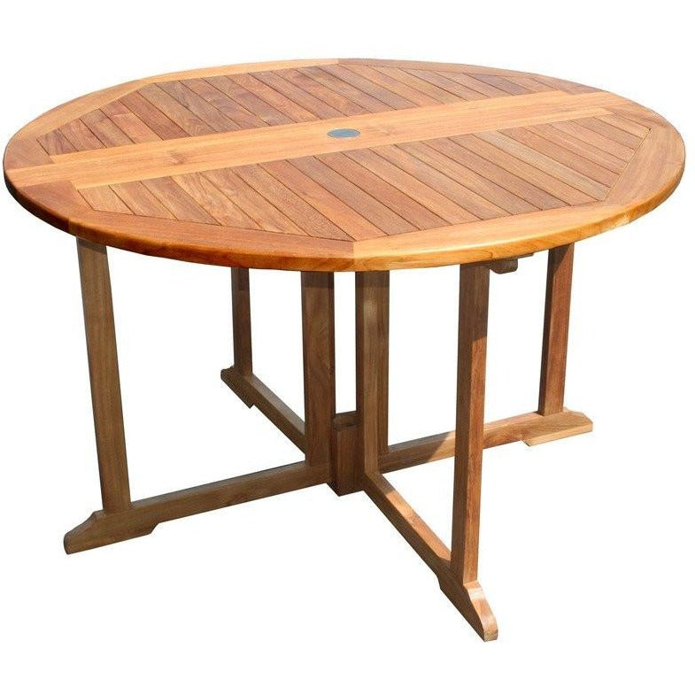 Pleasing Teak Wood Butterfly Round Outdoor Patio Folding Table 47 Inch Download Free Architecture Designs Lectubocepmadebymaigaardcom