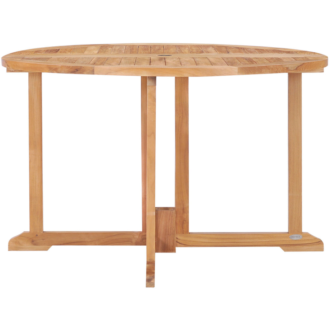 Picture of: Teak Wood Butterfly Round Outdoor Patio Folding Table 47 Inch By Chic Teak Only 703 42