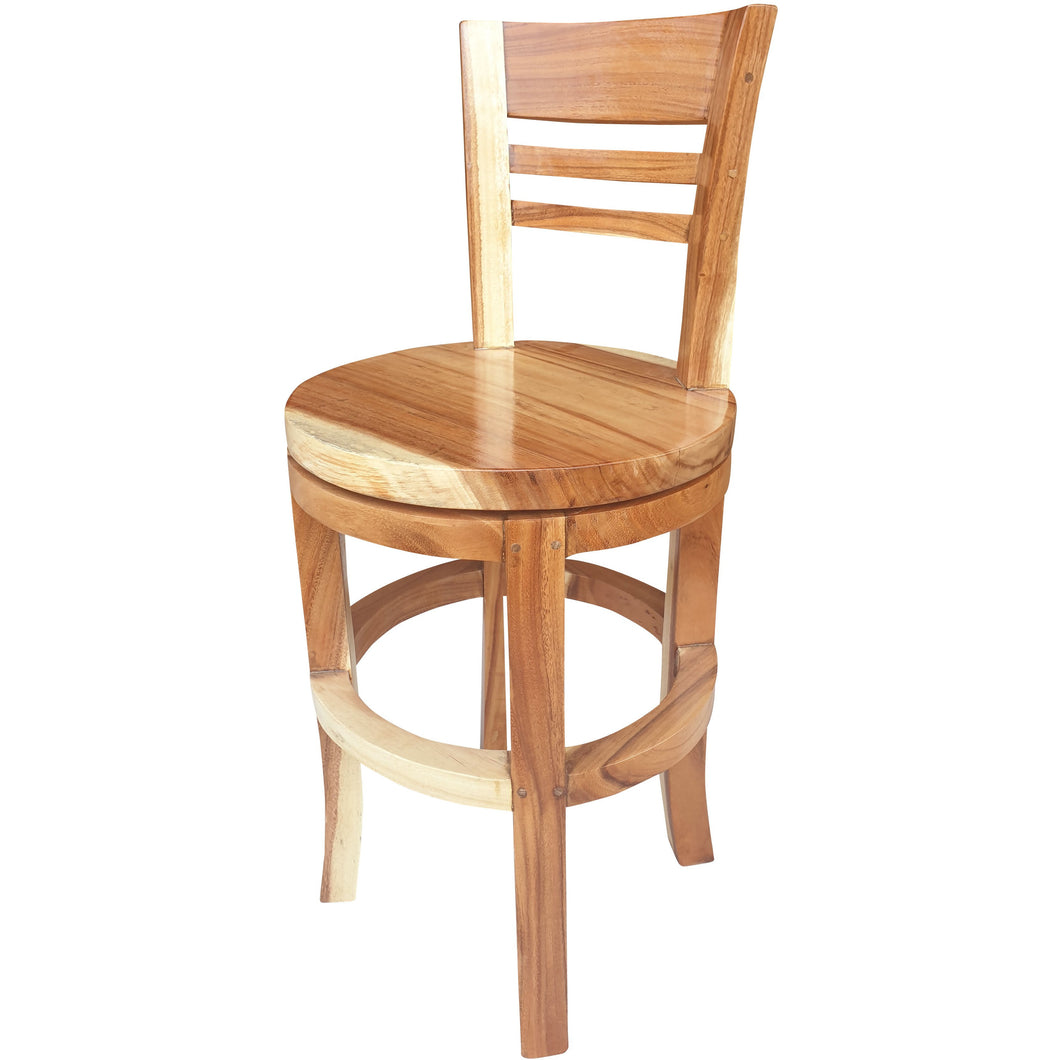 Suar Olympia Live Edge Counter Stool Chair with Swivel Seat - Chic Teak