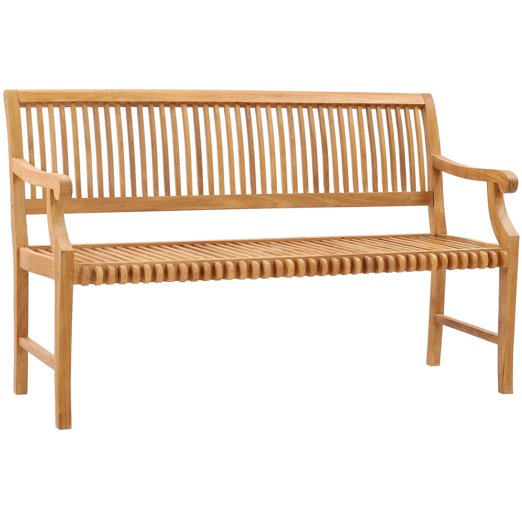 Teak Wood Castle Bench with Arms, 5 ft