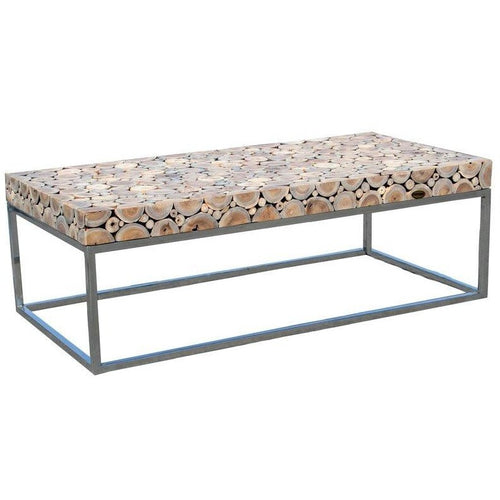 Teak Wood Coffee Table With Stainless Base - Chic Teak