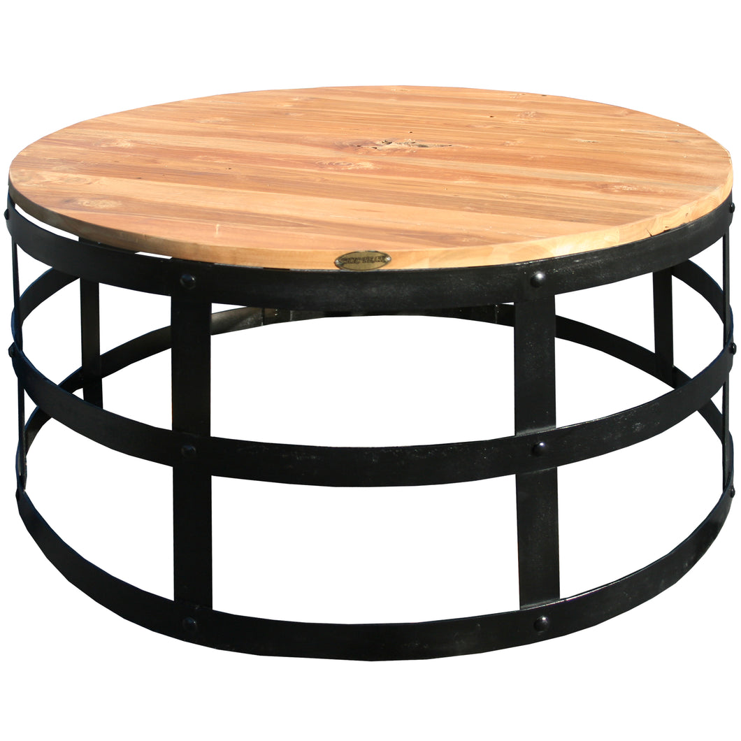 Teak Wood Nutella Coffee Table with Ironwork Base