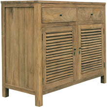 Recycled Teak Wood Louvre Cabinet with 2 Doors & 2 Drawers - Chic Teak