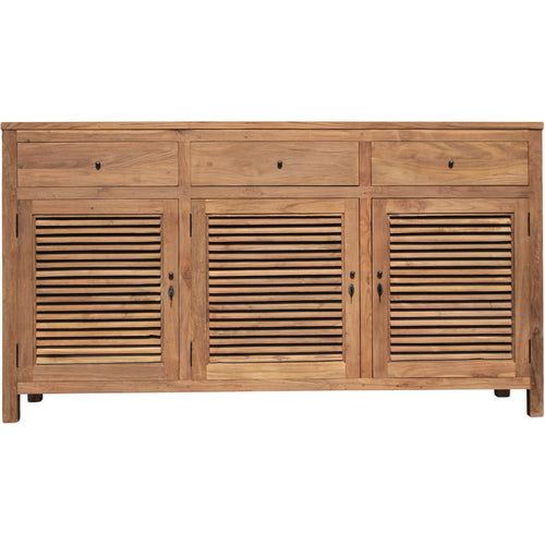 Recycled Teak Louvre Cabinet 3 Doors 3 Drawers - Chic Teak