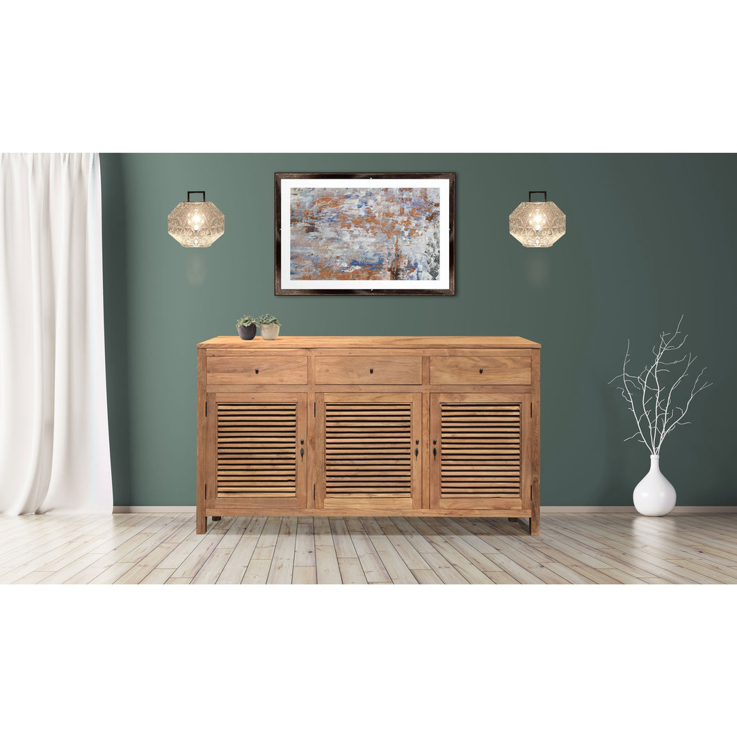 Recycled Teak Wood Louvre Cabinet with 3 Doors & 3 Drawers - Chic Teak