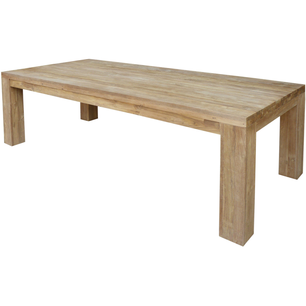 Recycled Teak Wood Marbella Dining Table, 102 Inch - Chic Teak