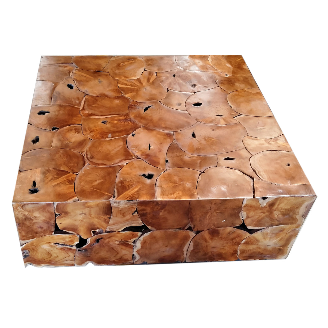 Recycled Teak Wood Square Akar Coffee Table, 47 Inch