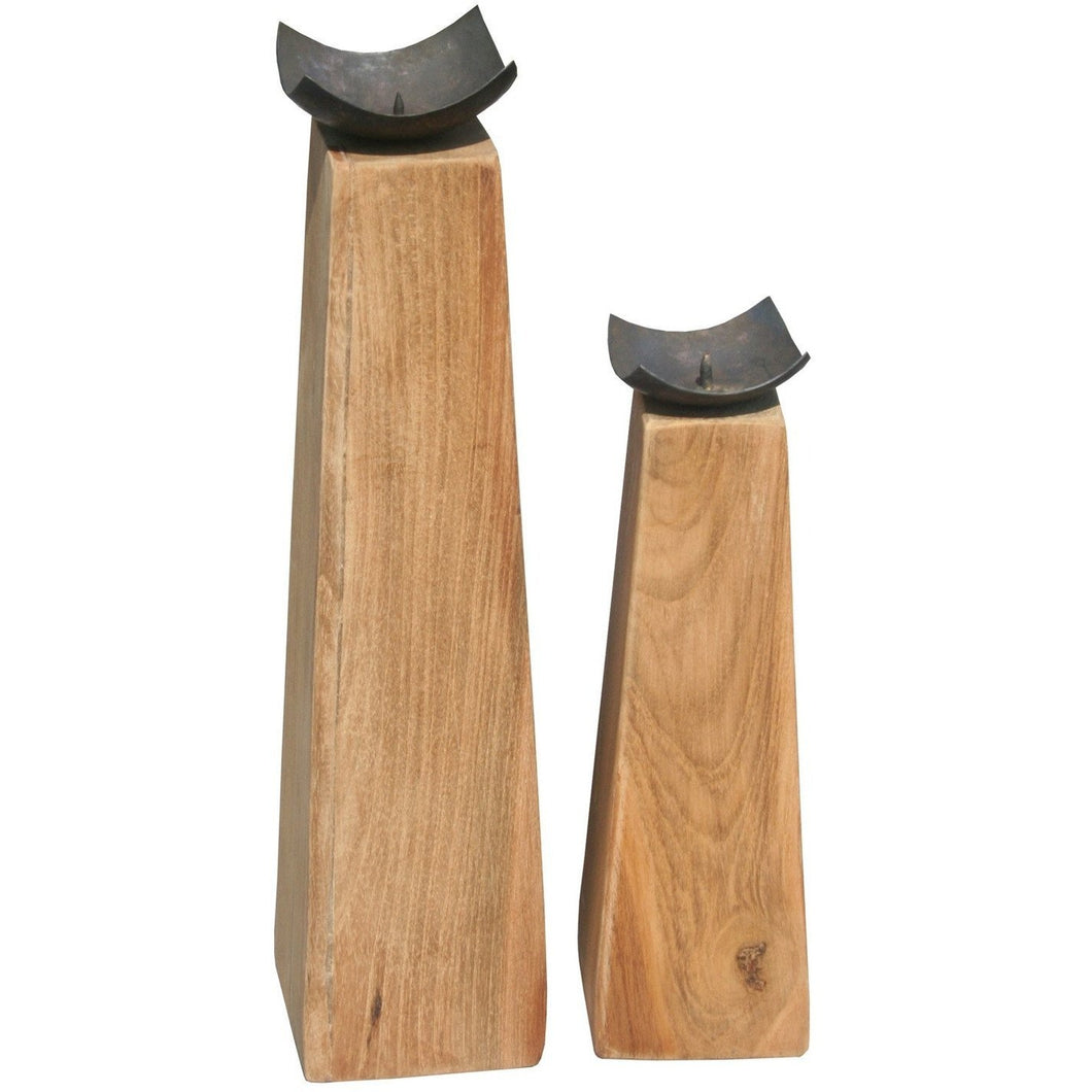 Prisma Recycled Teak Candleholder, set of 2-Chic Teak