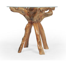 Teak Wood Root Bar Table Including 36 Inch Round Glass Top - Chic Teak
