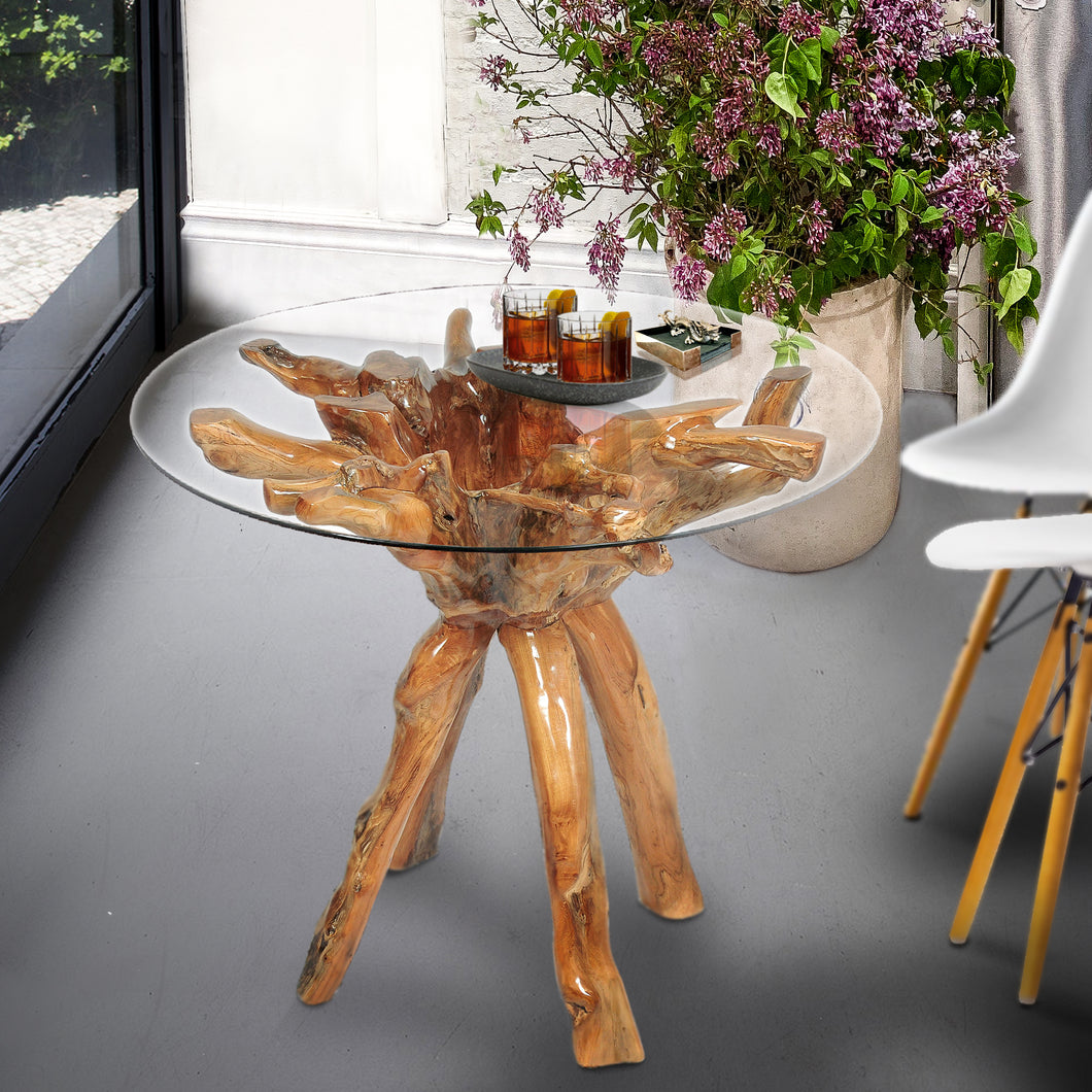 Teak Wood Root Bar Table Including 36 Inch Round Glass Top