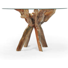 Teak Wood Root Bar Table Including 47 Inch Glass Top - Chic Teak
