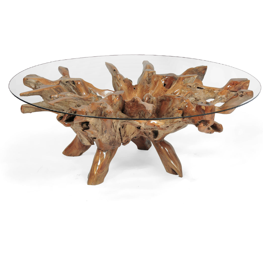 Teak Wood Root Coffee Table Including 55 Inch Round Glass ...
