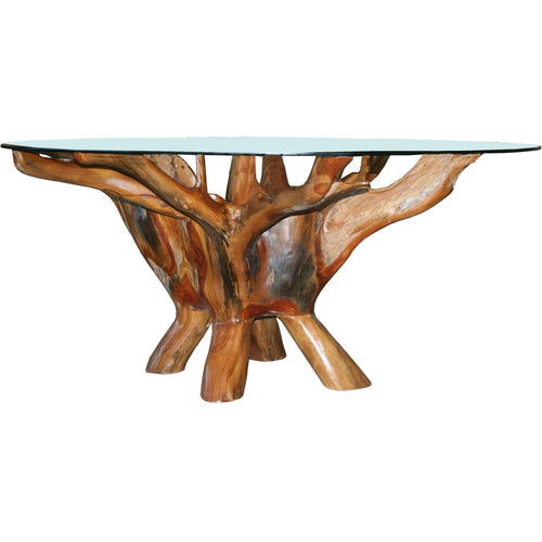 Teak Wood Root Coffee Table Including 43 Inch Glass Top - Chic Teak