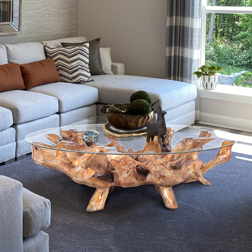 Teak Wood Root Coffee Table including a 63