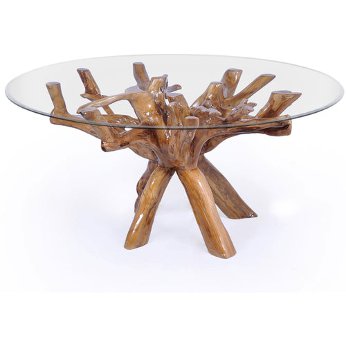 Teak Wood Root Dining Table Including a Round 48 Inch Glass Top - Chic Teak