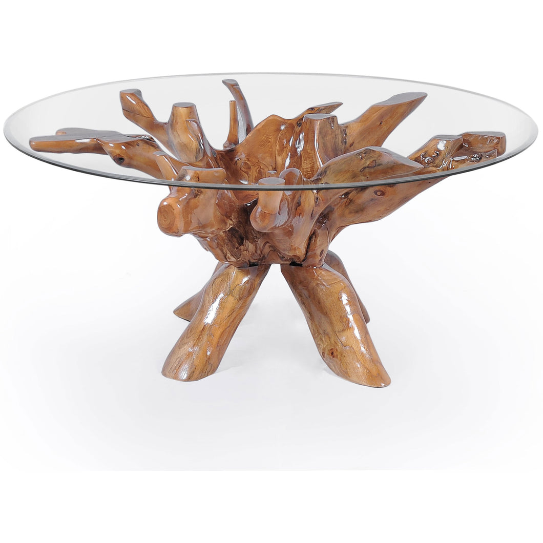 89a3ed50176d ... Teak Wood Root Dining Table Including a Round 48 Inch Glass Top - Chic  Teak ...