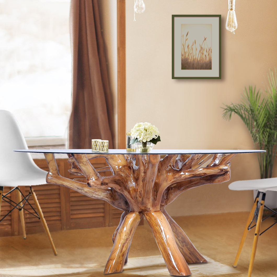 Teak Wood Root Dining Table Including a Round 48 Inch Glass Top