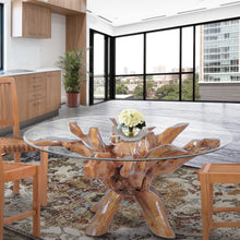Teak Wood Root Dining Table Including 55 Inch Round Glass Top