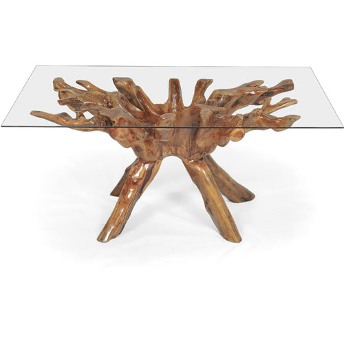 Teak Wood Root Dining Table Including a 71 x 40 Inch Glass Top - Chic Teak