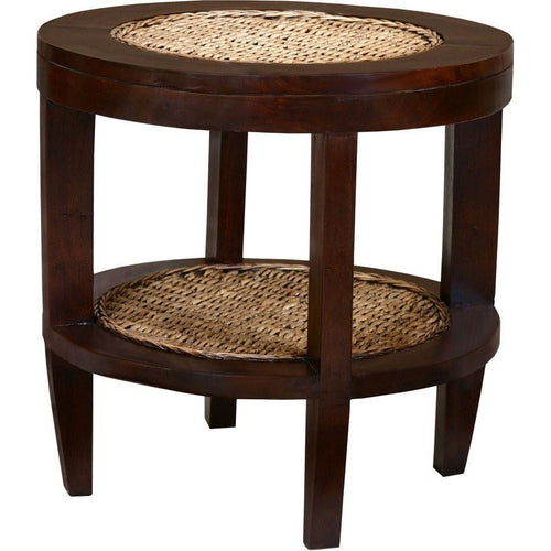 Dakar Mahogany and Banana Leaf Side Table - Chic Teak