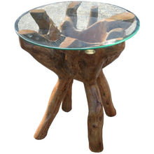 "Teak Wood Root Side Table with 24"" Round Glass Top - Chic Teak"