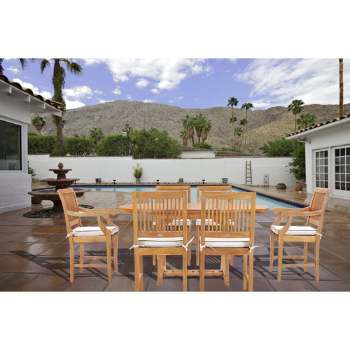 7 Piece Teak Wood Castle Patio Dining Set with Round to Oval Extension Table, 4 Side Chairs and 2 Arm Chairs