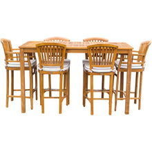 "7 Piece Teak Wood Orleans Patio Bistro Bar Set, 63"" Bar Table, 2 Bar Chairs w/ Arms & 4 Armless Bar Chairs - Chic Teak"